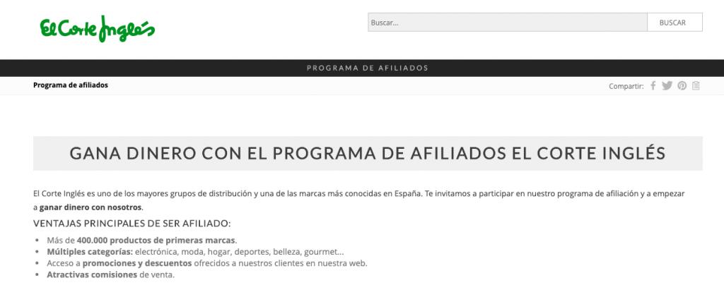 Captura de la página de afiliados de El Corte Inglés.
